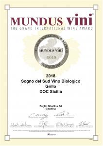 Sogno del sud Grillo gold mundus vini 2019